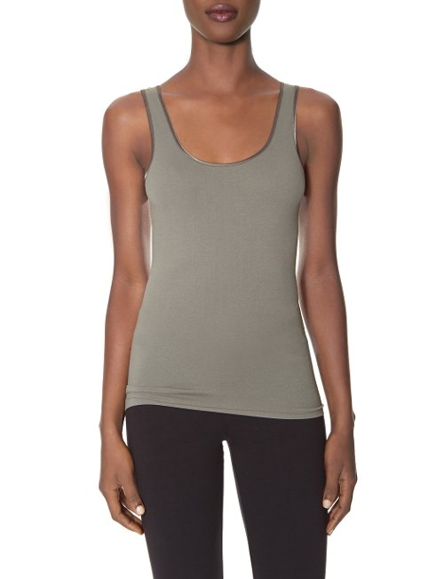 Satin Trim Seamless Tank by The Limited in Vice