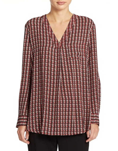 Houndstooth Printed Blouse by Lord & Taylor in Entourage