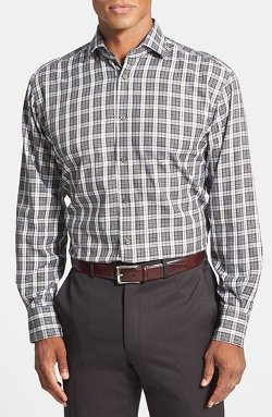 Regular Fit Twill Plaid Sport Shirt by Thomas Dean in If I Stay