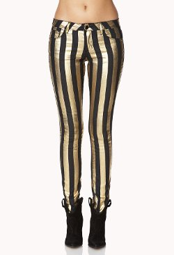 Gold Glam Girl Striped Skinny Jeans by Forever21 in Pitch Perfect 2