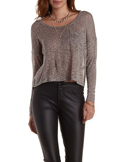 Crop Knit Sweater by Charlotte Russe in Ballers