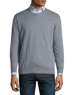 Cotton-Blend Crewneck Sweater by Nieman Marcus in Silicon Valley