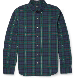 Slim-Fit Button Down-Collar Checked Cotton Shirt by J.Crew in No Escape
