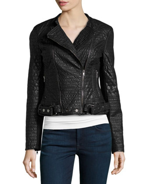 Mixed Quilted Faux-Leather Jacket by Love Token in Barely Lethal