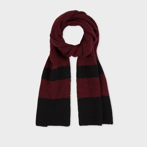 Red Nep Block Donegal Wool Scarf by Paul Smith in Legend