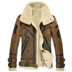 Men's Sheepskin Shearling Bomber Jacket by Cwmalls  in Power