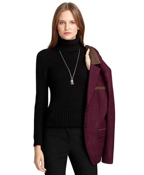 Cashmere Turtleneck Sweater by Brooks Brothers in Barely Lethal