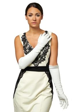 Italian Silk Lined 12-Button Length White Leather Bridal Gloves by Fratelli Orsini in Confessions of a Shopaholic
