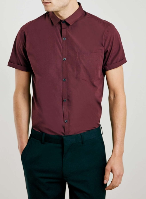 Burgundy Pocket Short Sleeve Smart Shirt by Topman in Pretty Little Liars - Season 6 Episode 12
