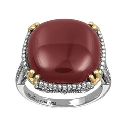Gold Over Silver & Sterling Silver Agate Ring by Lavish By Tjm in Deadpool