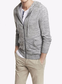 Marled Hooded Zip Front Cardigan by Express in The Flash