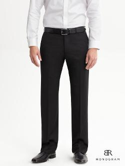 Monogram Black Italian Wool Suit Trouser by BANANA REPUBLIC in Jersey Boys