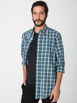 Brushed Plaid Long Sleeve Button-Up Shirt by American Apparel in The Town