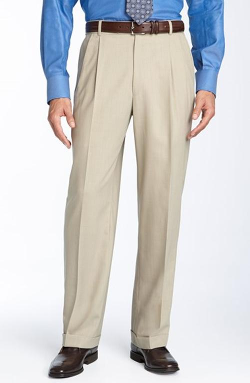 Double Reverse Pleated Wool Twill Trousers by Ballin in Interstellar