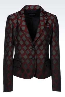 Geometric Design Jacquard Single-Breasted Jacket by Emporio Armani in Scandal