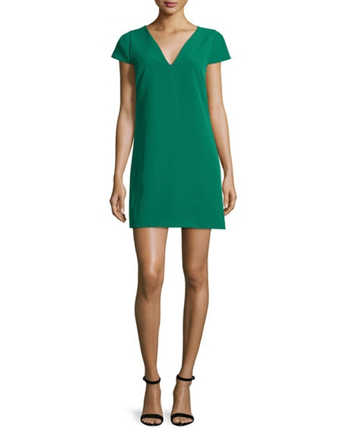 Eva Cap-Sleeve Stretch Cady Dress by Milly in La La Land