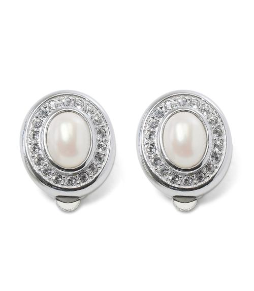Oval Pave Pearl Clip Earrings by Brooks Brothers in Yves Saint Laurent