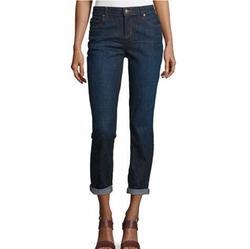 Slim-Leg Cropped Boyfriend Jeans by Eileen Fisher in Rosewood