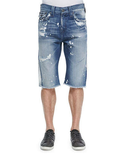 Ricky Distressed 5-Pocket Denim Shorts by True Religion in Get Hard