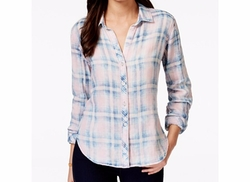Plaid Button-Down Shirt by Olive + Sloane  in Billions