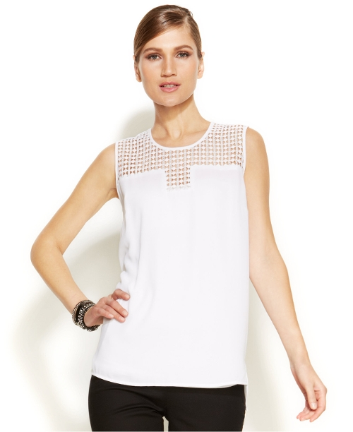 Sleeveless Lace Yoke Blouse by Vince Camuto in Unfriended