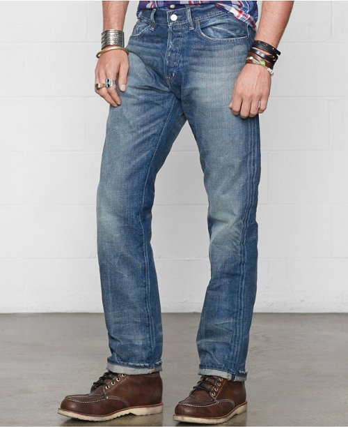 Straight-Fit Traverse-Wash Jeans by Denim & Supply Ralph Lauren in Black or White