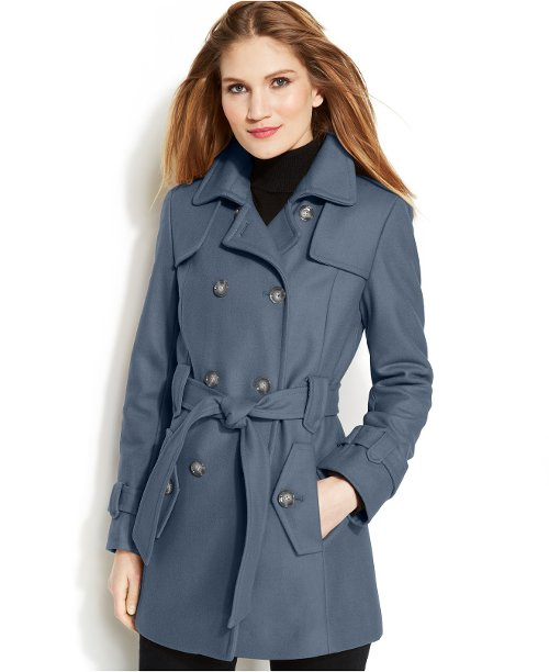 Double-Breasted Belted Peacoat by Calvin Klein in That Awkward Moment