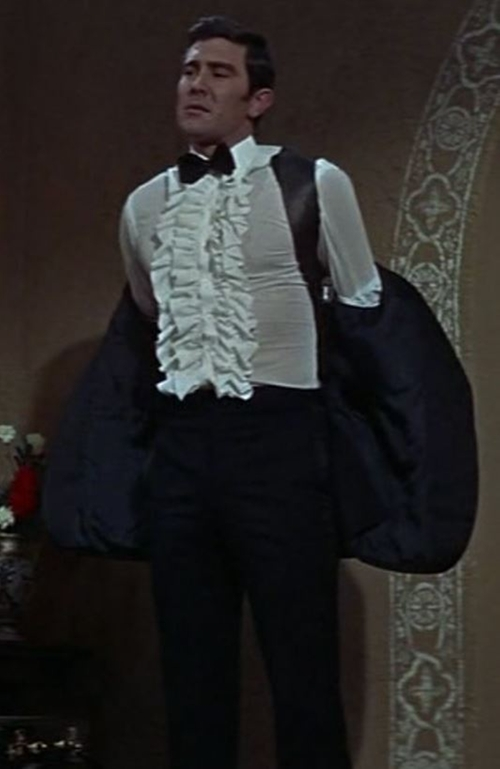 Custom Made Ruffled-Front Tuxedo Shirt by Frank Foster (Costume Designer) in On Her Majesty's Secret Service