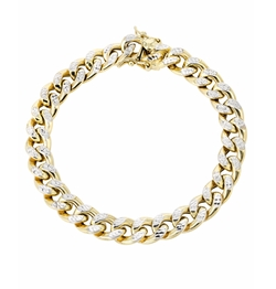 Hollow Yellow Pave Cuban Link Bracelet  by Frost NYC  in Empire