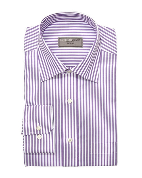 Stripe Dress Shirt by Lorenzo Uomo in Rosewood