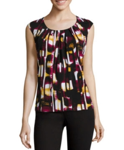 Sleeveless Pleated Print Blouse by Black Label by Evan-Picone in The Boss