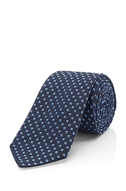 'Tie 7.5 cm' Regular Silk Cotton Blend Tie by Boss in Billions
