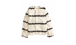 Faux Fur Stripe Jacket by H&M in Me Before You