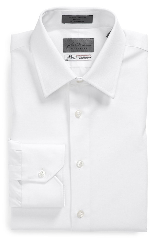Traditional Fit Solid Dress Shirt by John W Nordstrom Signature in Black Mass