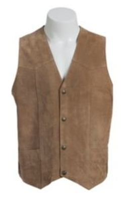 Mens  Suede Leather Snap Front Vest by Cripple Creek in Vacation