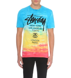 Tie Dye-Print Cotton-Jersey T-Shirt by Stussy in Black-ish