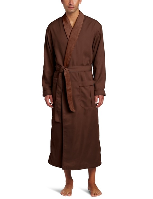 Men's Lined Sanded Micro Robe by Majestic International  in New Girl - Season 5 Episode 8