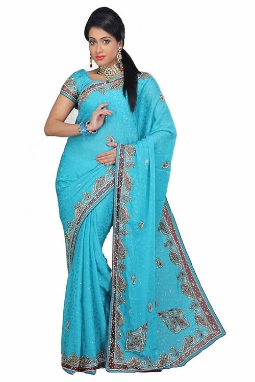 Embellished Designer Saree by VinHem Fashion in The Mindy Project - Season 4 Episode 9
