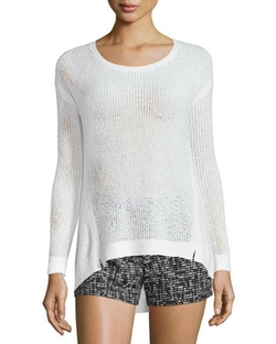 Harpo Angled Mesh-Knit Sweater by Alice + Olivia in Mistresses