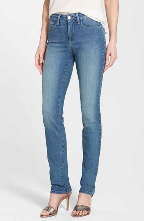 'Samantha' Stretch Slim Straight Leg Jeans by NYDJ in Captive