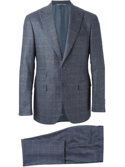 Tonal Check Suit by Canali in Rosewood