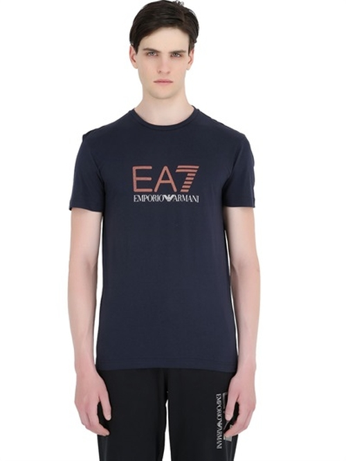 Logo Printed Cotton Jersey T-Shirt by EA7 Emporio Armani in The Martian