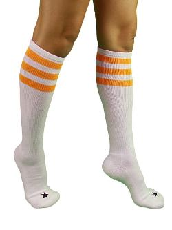 Unisex Triple Stripe Sporty Knee High Stars Socks by YogaColors in Let's Be Cops