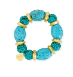 Carved Turquoise Bead Bracelet by Devon Leigh in Grace and Frankie