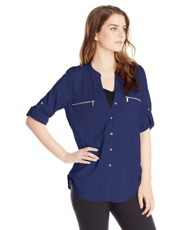 Zipper Button Front Blouse by Calvin Klein in Whiskey Tango Foxtrot