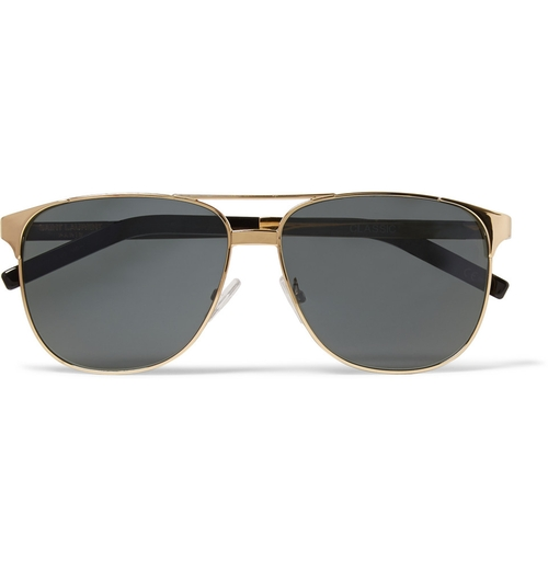 Gold-Tone Aviator Sunglasses by Saint Laurent in Ballers - Season 1 Episode 10