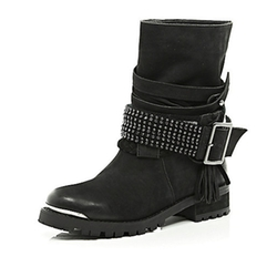 Leather Chain Embellished Biker Boots by River Island in The Vampire Diaries
