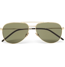 Aviator-Style Gold-Tone Sunglasses by Saint Laurent in Keeping Up With The Kardashians