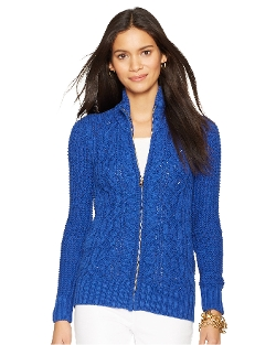 Cable-Knit Full-Zip Cardigan by Ralph Lauren in The Visit