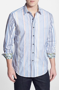 'Kipu Rocker' Classic Fit Stripe Sport Shirt by Robert Graham in Modern Family